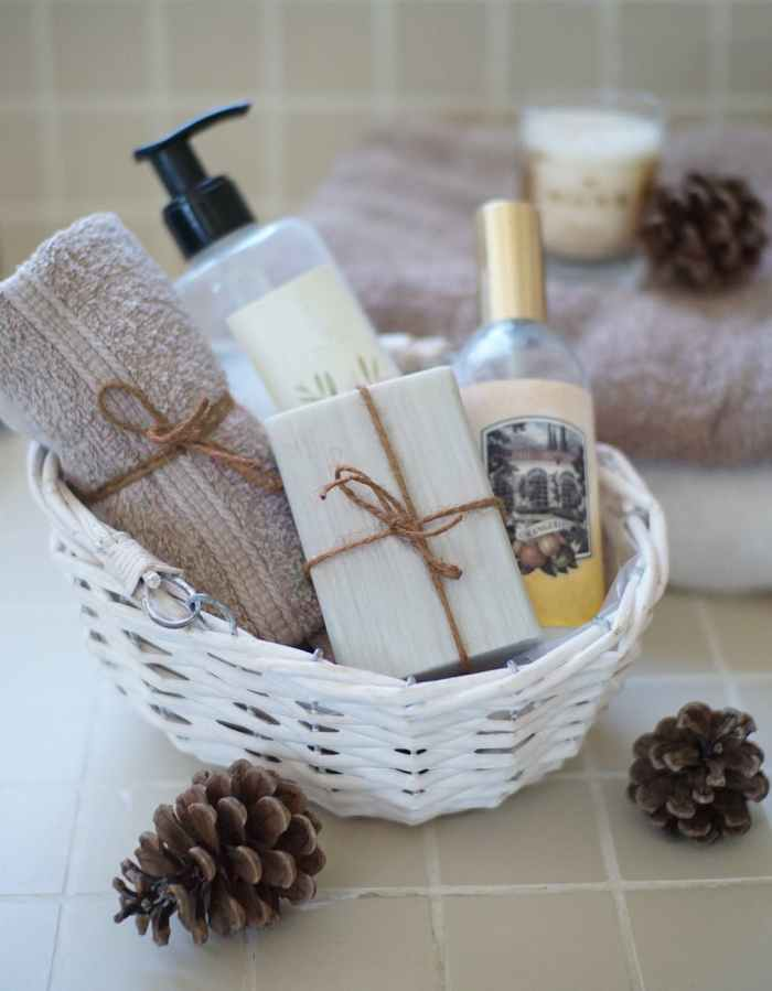 bathing essentials in brown wicker basket